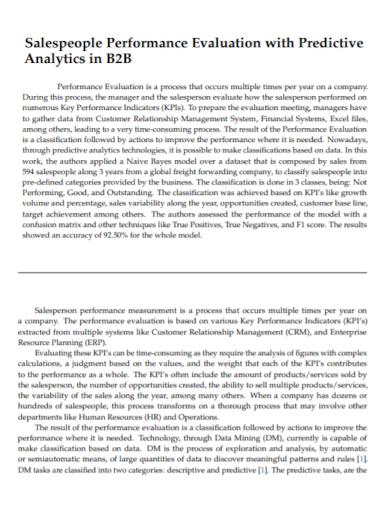salespeople analytics performance evaluation