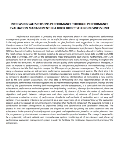 salesperson management performance evaluation