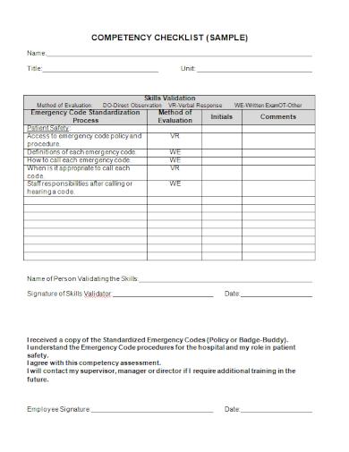 sample competency checklist