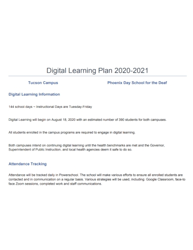 sample digital learning plan