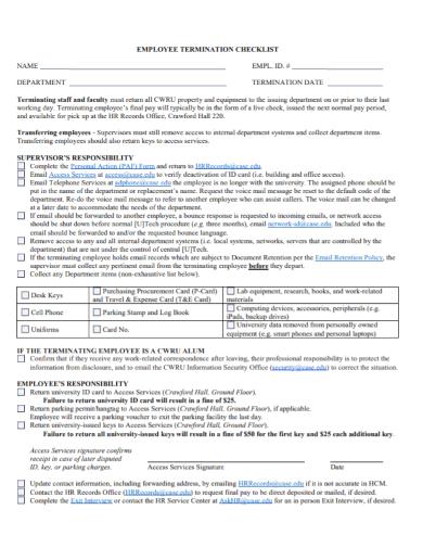 sample employee termination checklist