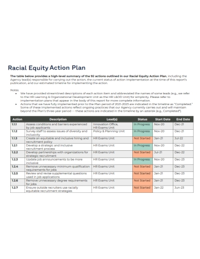sample equity action plan