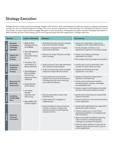 sample execution strategy