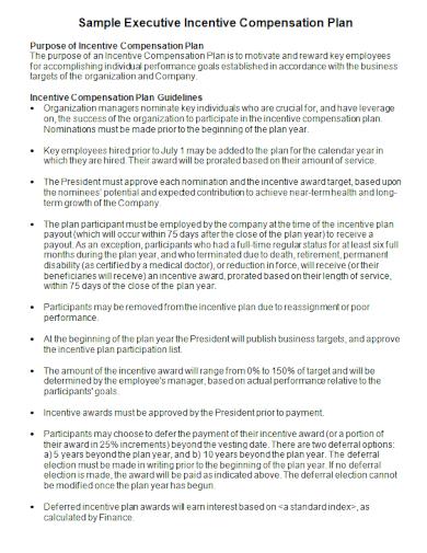 sample executive incentive compensation plan1
