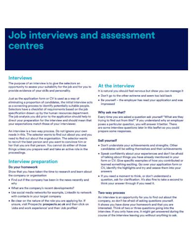 sample job interview assessment