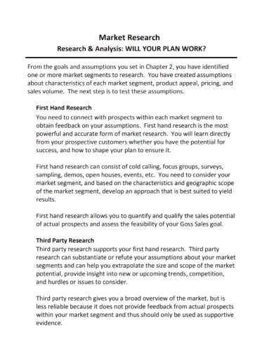 sample market research analysis