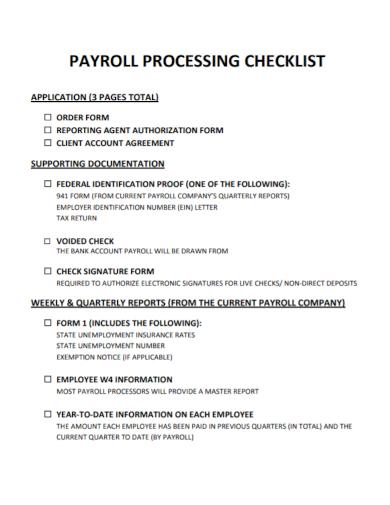 sample payroll processing checklist