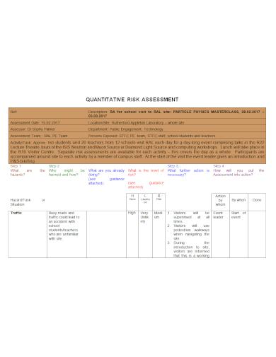 sample quantitative risk assessment
