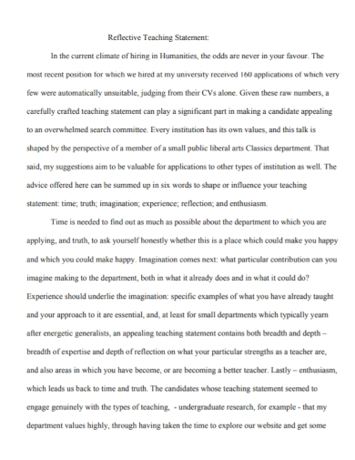 sample reflective teaching statement
