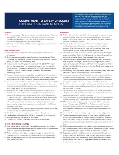 sample restaurant safety checklist