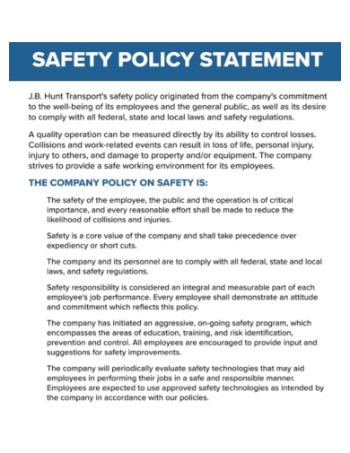 sample safety policy statement