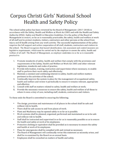 sample school health and safety policy