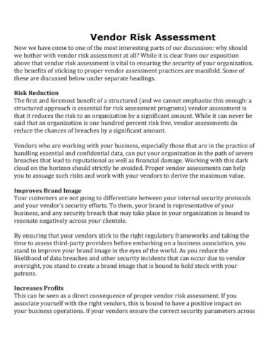 sample vendor risk assessment