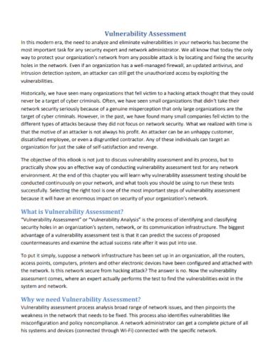 sample vulnerability assessment