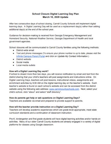school closure digital learning day plan