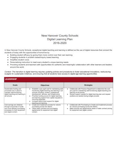 school digital learning plan