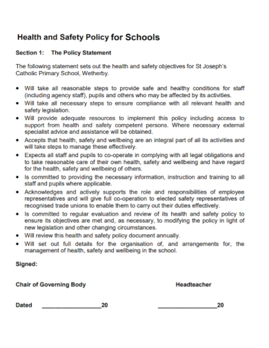 school health and safety policy statement