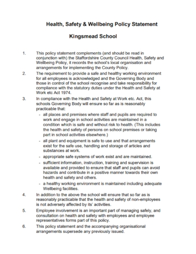 school health and safety wellbeing policy