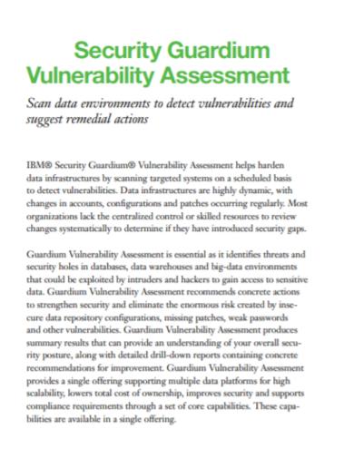 security guardium vulnerability assessment