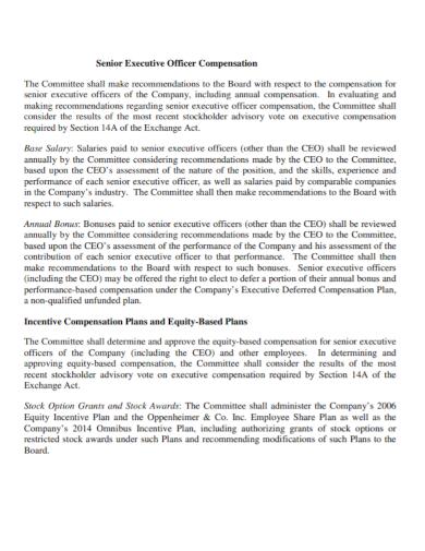 senior executive incentive compensation plan