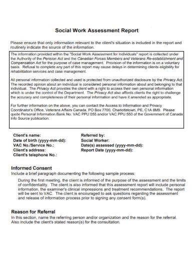 social work assessment report