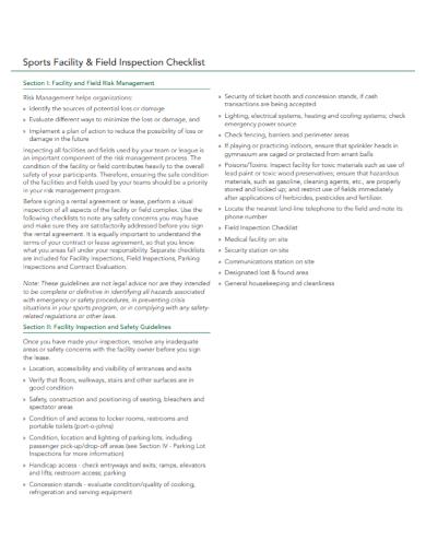 sports facility field inspection checklist