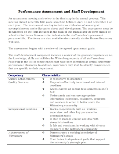 staff development performance assessment