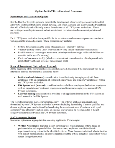 staff recruitment assessment