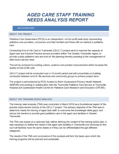 staff training needs analysis report