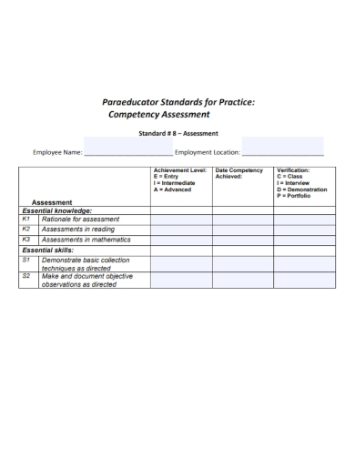 standard employee competency assessment