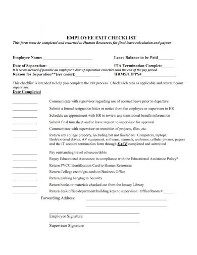 standard employee exit checklist