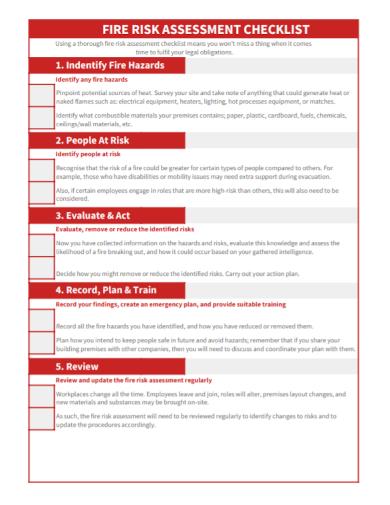 standard fire risk assessment checklist