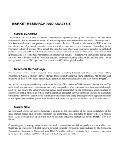 standard market research analysis