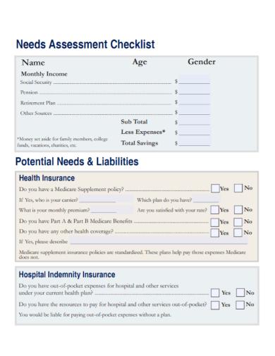 standard needs assessment checklist