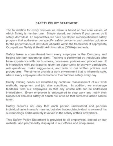 standard safety policy statement