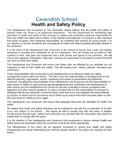 standard school health and safety policy