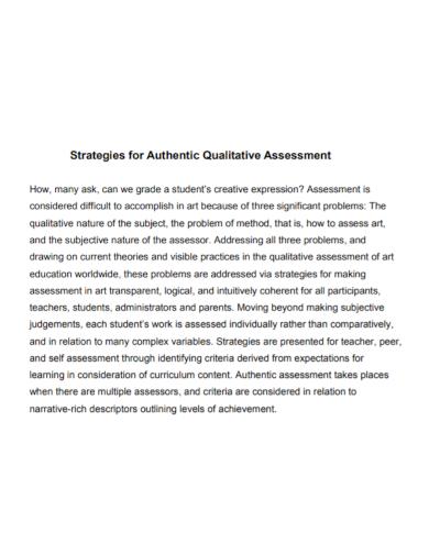 strategic qualitative assessment
