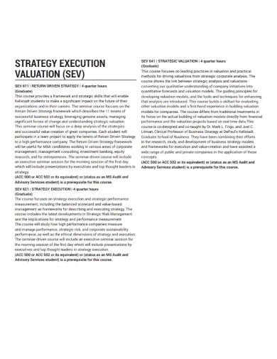 strategy execution valuation
