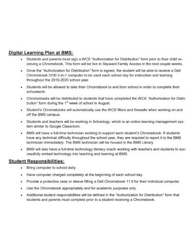 student digital learning plan