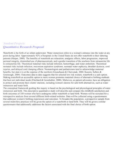 student project quantitative research proposal