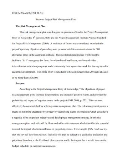 student project risk management plan