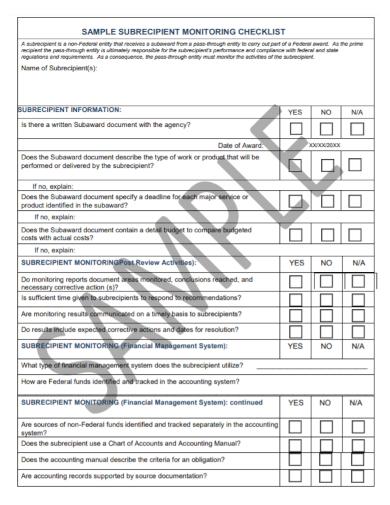 subrecipient monitoring checklist