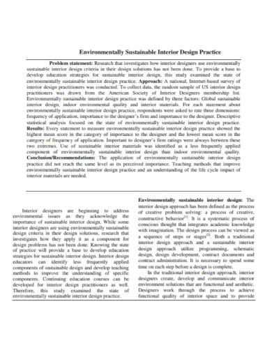 sustainable interior design problem statement