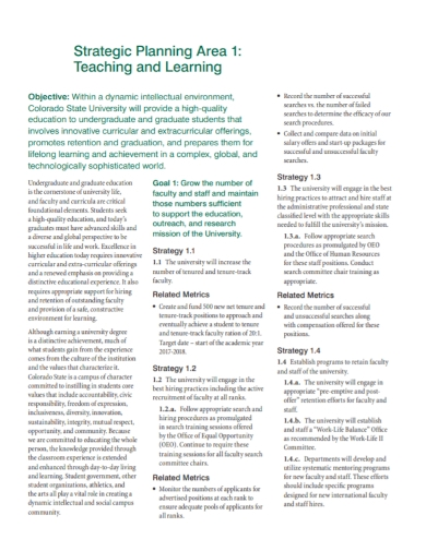 teaching and learning area strategic plan
