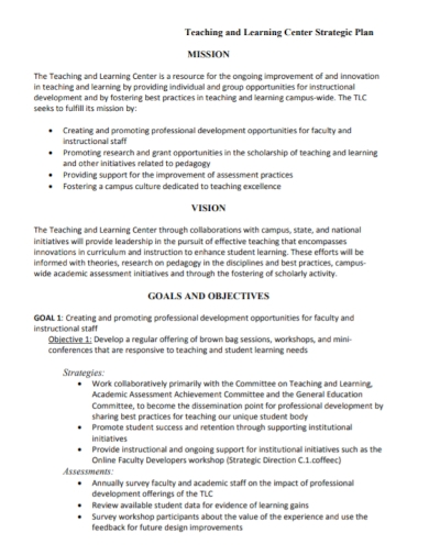 teaching and learning center strategic plan