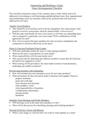 team developmental checklist