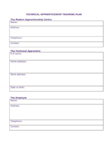technical apprenticeship training plan