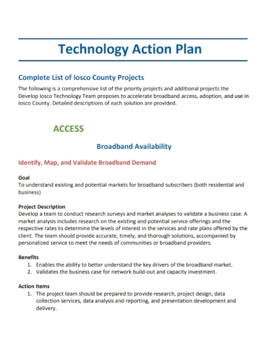 technology project action plan