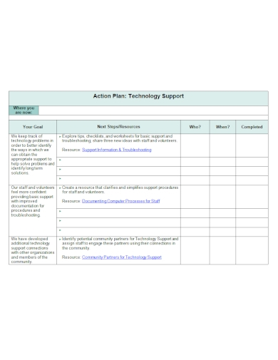 technology support action plan