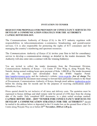 tender consultancy services proposal